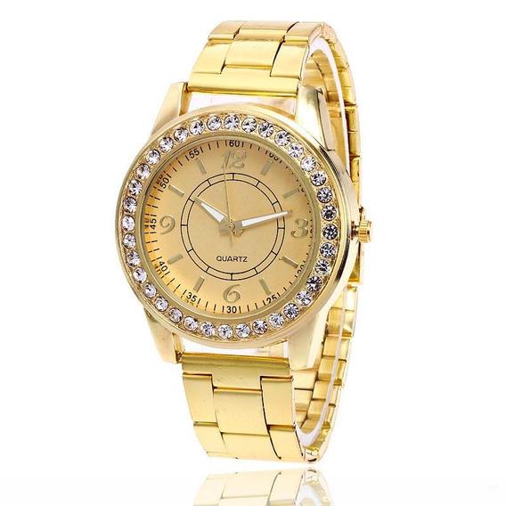 Relógio Dourado Feminino Com Cristais De Luxo Promoção