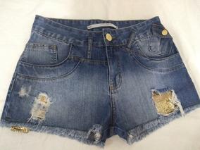 Short Jeans Com Paetês Dourados Original Lança Perfume N. 36