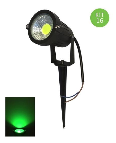 Espeto Led 3w Cob Luminária Projetor Jardim Verde Kit 16