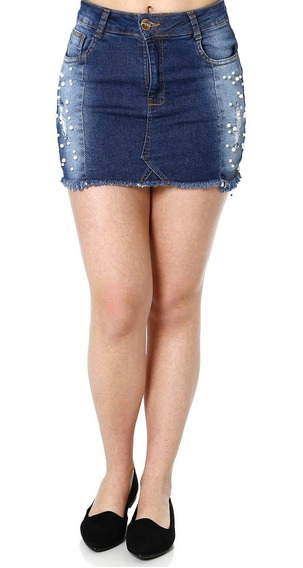 Saia Curta Jeans Feminina Azul