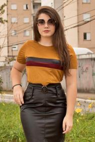 Blusas Camisas Detalhe Listra Suede Moda Feminina