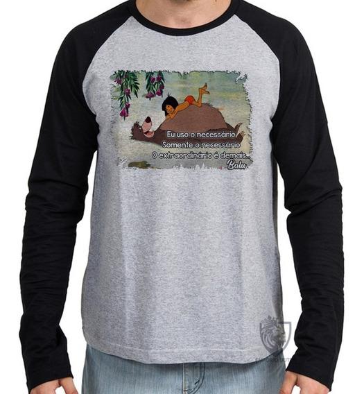 Camiseta Blusa Manga Longa Balu Urso Mogli Menino Lobo Disne