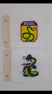 Kit Bandeira Moto Feb,a Cobra Vai Fuma Bordado Moto Chopper