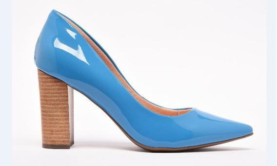 Scarpin Invoice Azul Verniz 212-007