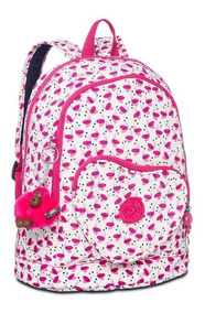 Mochila Infantil Heart Backpack Branca E Rosa Pink Wings Kip