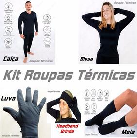 Kit Roupas Térmicas 1 Blusa 1 Calça 1 Luva 1 Meia + Brinde