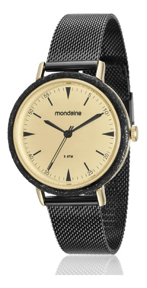 Relógio Feminino Mondaine Analógico 89001lpmvhe5 Aço Negro