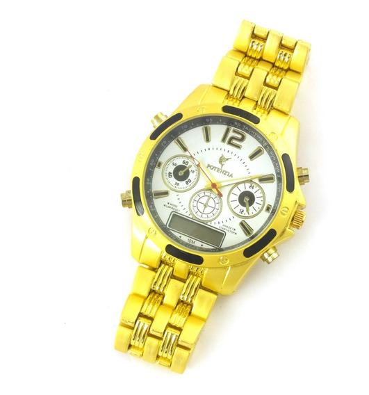 Relógio Masculino Potenzia De Pulso Com Pulseira Metal B5642