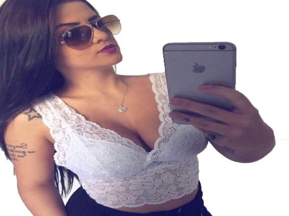 Top Feminino Cropped Regata Blusa Renda Bojo Decot Alça Larg