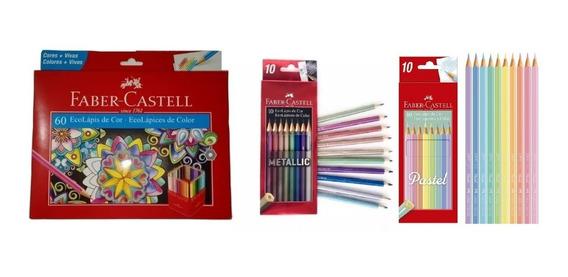 Lápis De Cor Fabercastell 60cores + Lápis Metálicos E Pastel