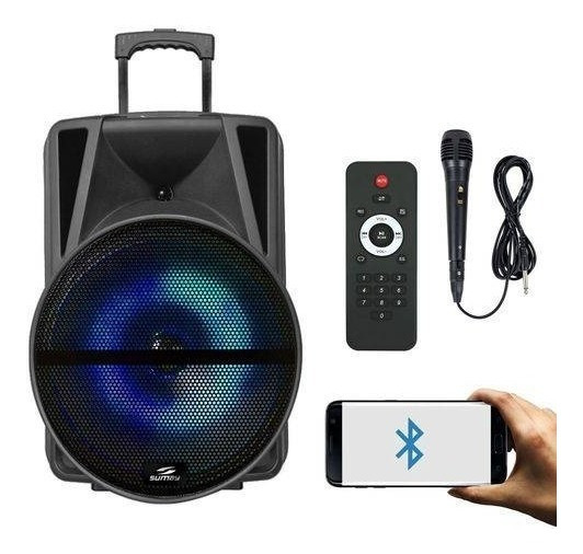 Caixa Amplificada 3000w Mp3 Sd Fm Usb Microfone Bluetooth