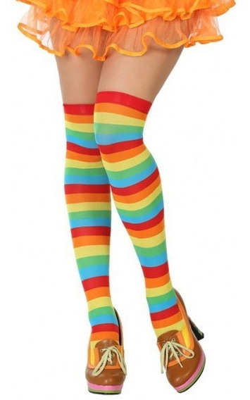 Media Calceta Rainbow Arcoiris Lolita Sexy Payaso Polyester