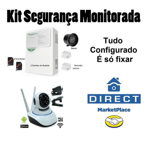 Kit Monitora, Sistema Alarme + Câmera Ip Imagem No Celular