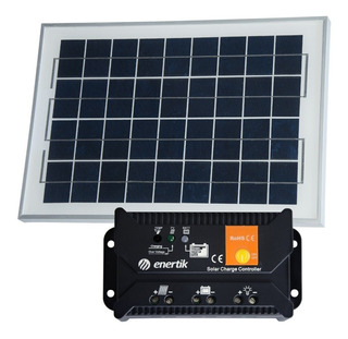 Pack Panel Fotovoltaico 10w + Regulador Solar - Enertik