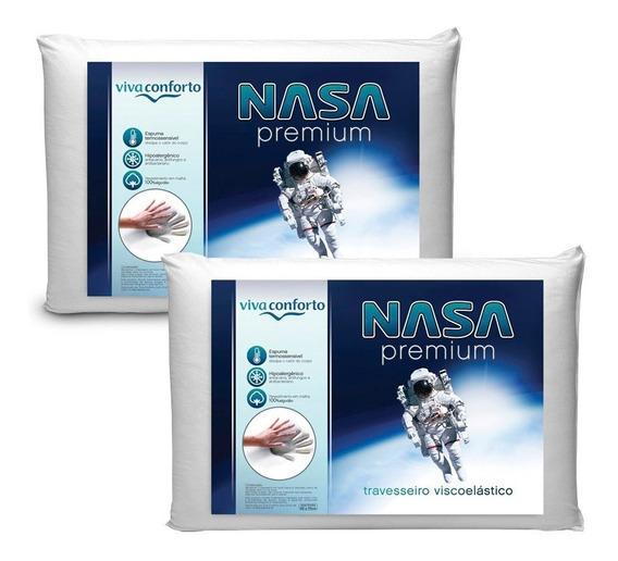 Kit 2 Travesseiros Nasa Viva Conforto Antialérgico Aproveite
