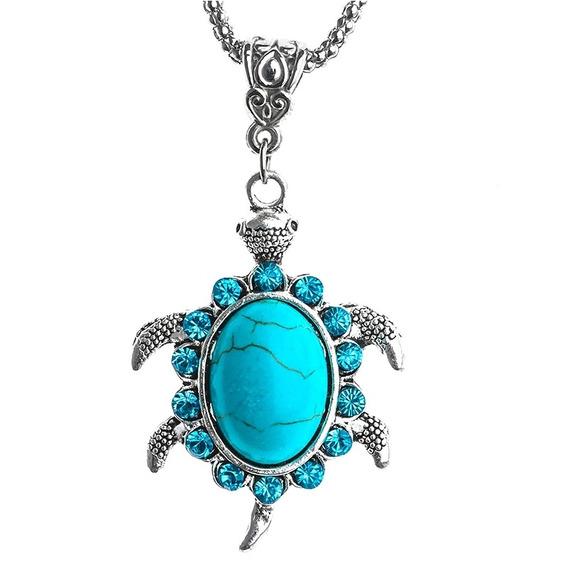 Collar Tortuga Cadena Turquesa Elegante Playa De Moda Mar