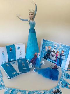 Combo Cumpleaños Frozen Elsa Adorno Piñata Bolsitas Banderin