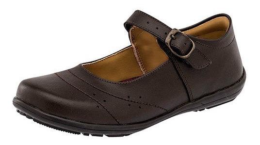 Zapato Escolar Yondeer Cafe Piel Mujer Correa C59698 Udt