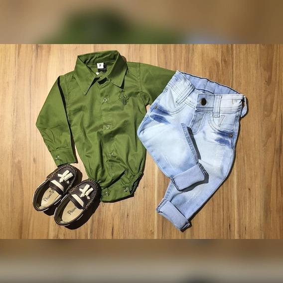 Conjunto Infantil Body Verde Calça Jeans Baby