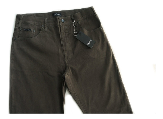 Calça Masculina Pierre Cardin Veludo Tradicional Verde Elast