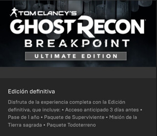 Ghost Recon Breakpoint Standar, Ultimate - Online E History