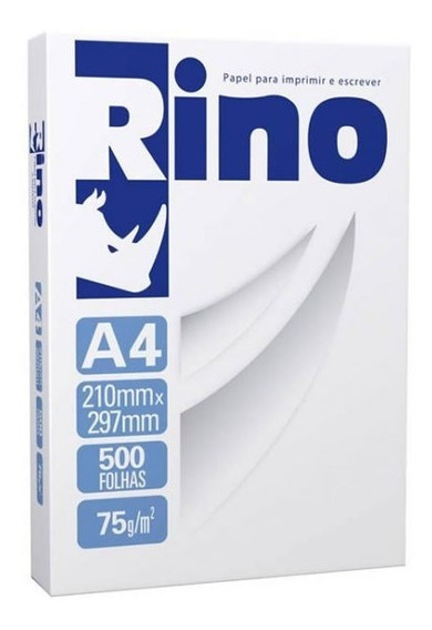 Papel Sulfite A4 Branco Rino 75g - Pacote Com 500 Folhas