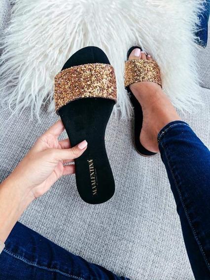 Sandalias De Piso Hecho En Mexico Escarcha Glitters