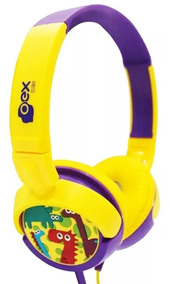 Fone De Ouvido Infantil Oex Hp300 Dino Amarelo