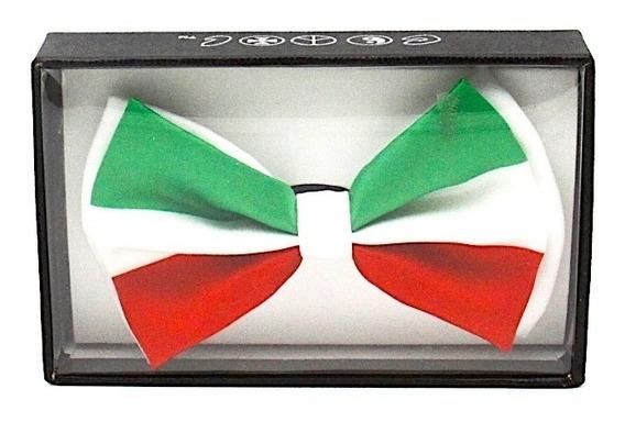 Moño Tricolor Verde Blanco Y Rojo Unisex