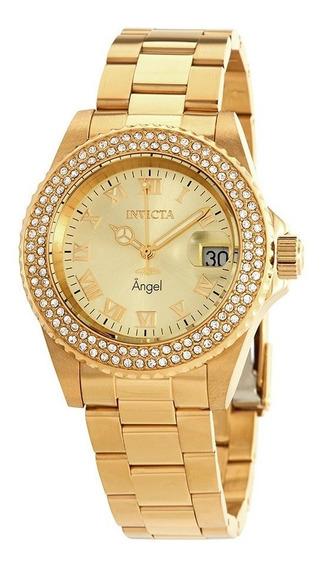 Relógio Invicta Angel 19513 Feminino Banhado Ouro Original