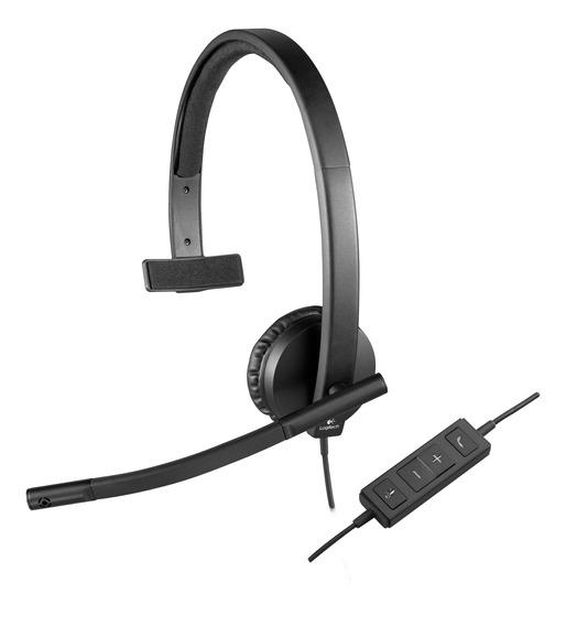 Headset Logitech Usb Mono H570e - Preto