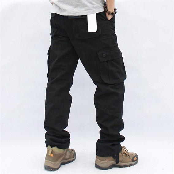 Pantalón Tipo Cargo Gabardina Costura Reforzada Importado
