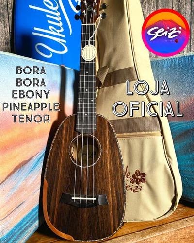 Ukulele Seizi Bora Bora Plus Pineapple Tenor Elétrico Ebony