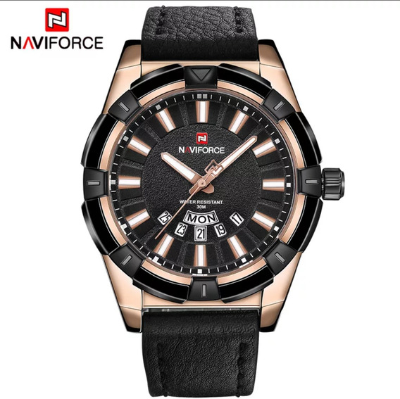 Relógio Masculino Luxo Quartzo Naviforce Gold Black Na Caixa