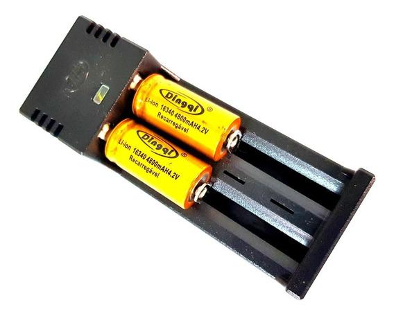 Carregador Duplo + Bateria 16430 4.2v 4800mah Recarregável