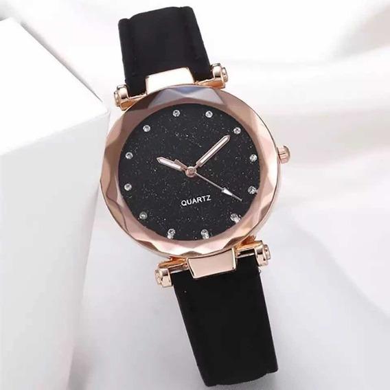 Reloj Clásico Mujer Cristal Cuero Moda Dama