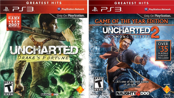Jogos Uncharted 1 E 2 Playstation 3 Ps3 Original Completo