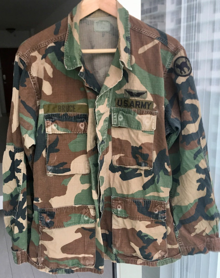 Chaqueta Ripstop Camo Selva U S Army Medium Con Parches