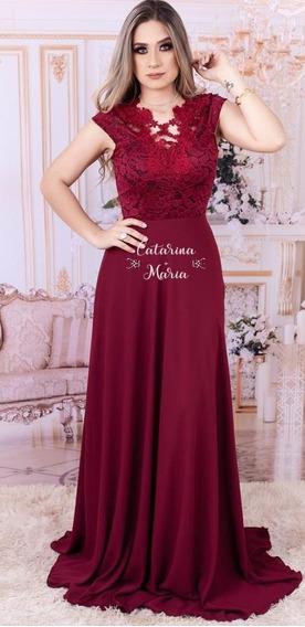 Vestido Longo Formaturas Manguinha Rose Marsala Lilas #05