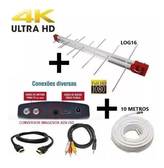 Antena Digital Externa 4k Log 16 +conversor Digital+ Cabo 10