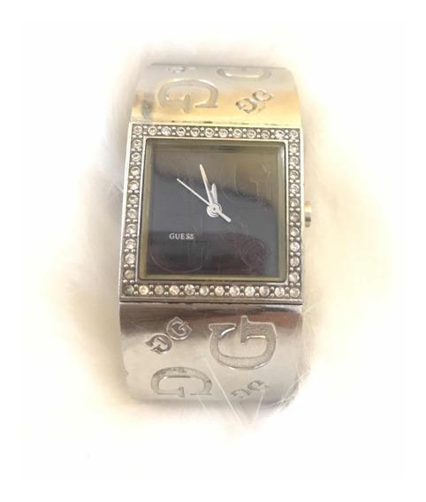 Remato Elegante Reloj Para Dama Guess Plata Con Negro