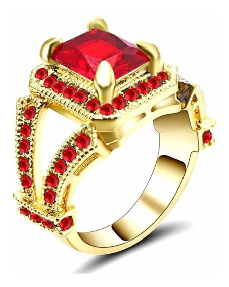 Anel Feminino Vazado Cravejado Cristal Rubi Vermelho Dia 556