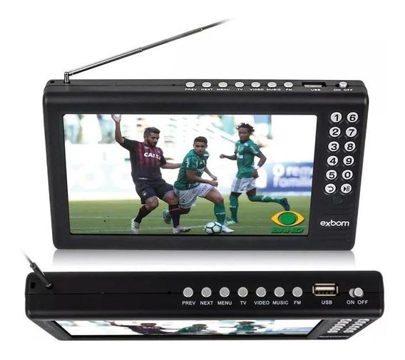 Tv Tela 7 Polegadas Hd Portátil Sinal Digital Jogo Novela Recarregável Usb C/ Rádio Mp3 Av Canais Abertos Pronta Entrega