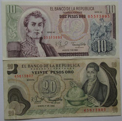 Billetes De 10 Y 20 Mil Pesos Oro Colombia . L 90