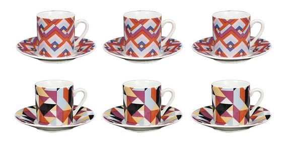 Jogo De Xícaras Para Café Em Porcelana Dynasty Harmony 90ml 6 Peças