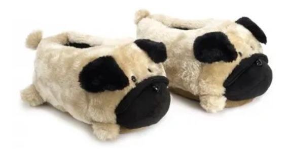 Pantufa Pelúcia 3d Pug Dog Cachorro Infantil Adulto Ricsen