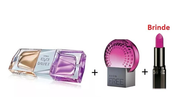 Combo Perfumes Femininos Avon : Eve Duet + Free For Her + Batom