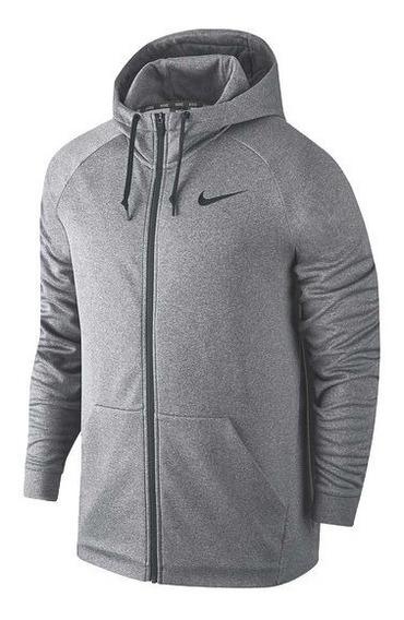 Chamarra Nike Therma Full Zip Hoodie Dri-fit Gris (mediana)