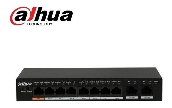 Dahua N°1 Seguridad - Switch Poe Switch 8+2 Puertos 10/100