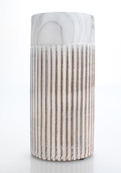 Jarrón Decorativo Cilíndrico Rayado Con Carrara Grande